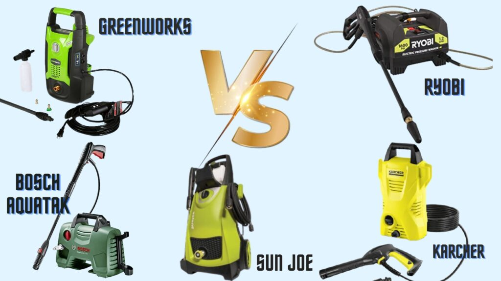 Sun Joe vs. Greenworks vs. Karcher vs. Bosch vs. Ryobi Electric Pressure Washer